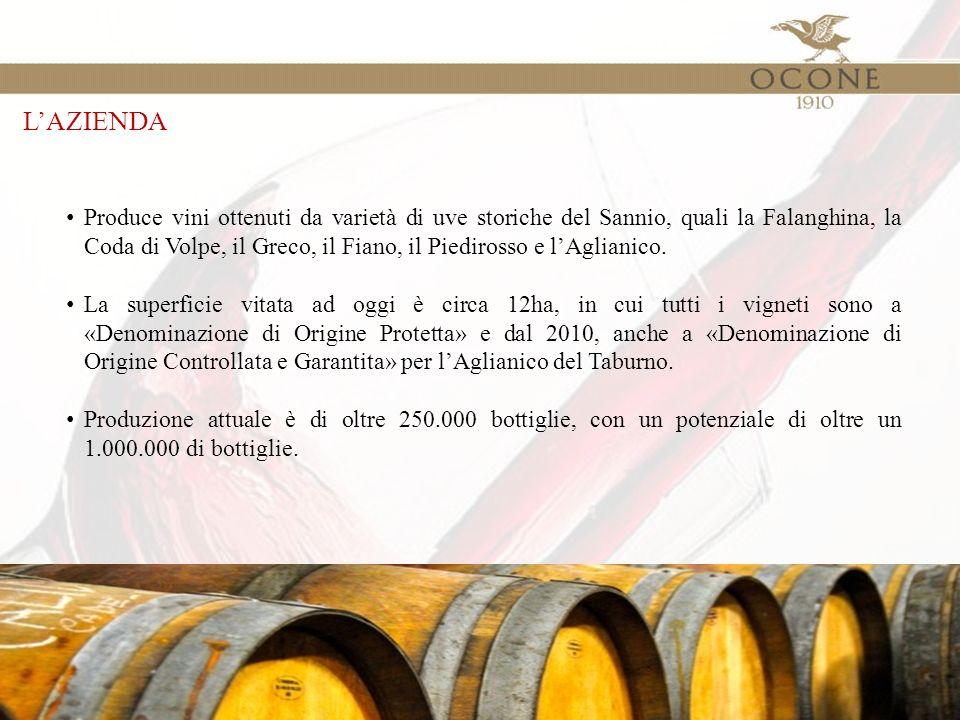 L'AZIENDA Produce vini ottenuti da varietà di uve storiche del Sannio, quali la Falanghina, la Coda di Volpe, il Greco, il Fiano, il Piedirosso e l'Aglianico.
