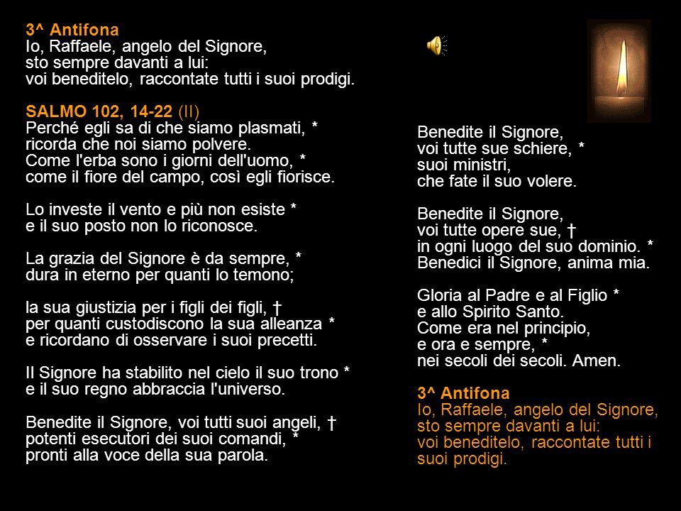 3^ Antifona Io, Raffaele, angelo del Signore, sto sempre davanti a lui: voi beneditelo, raccontate tutti i suoi prodigi.