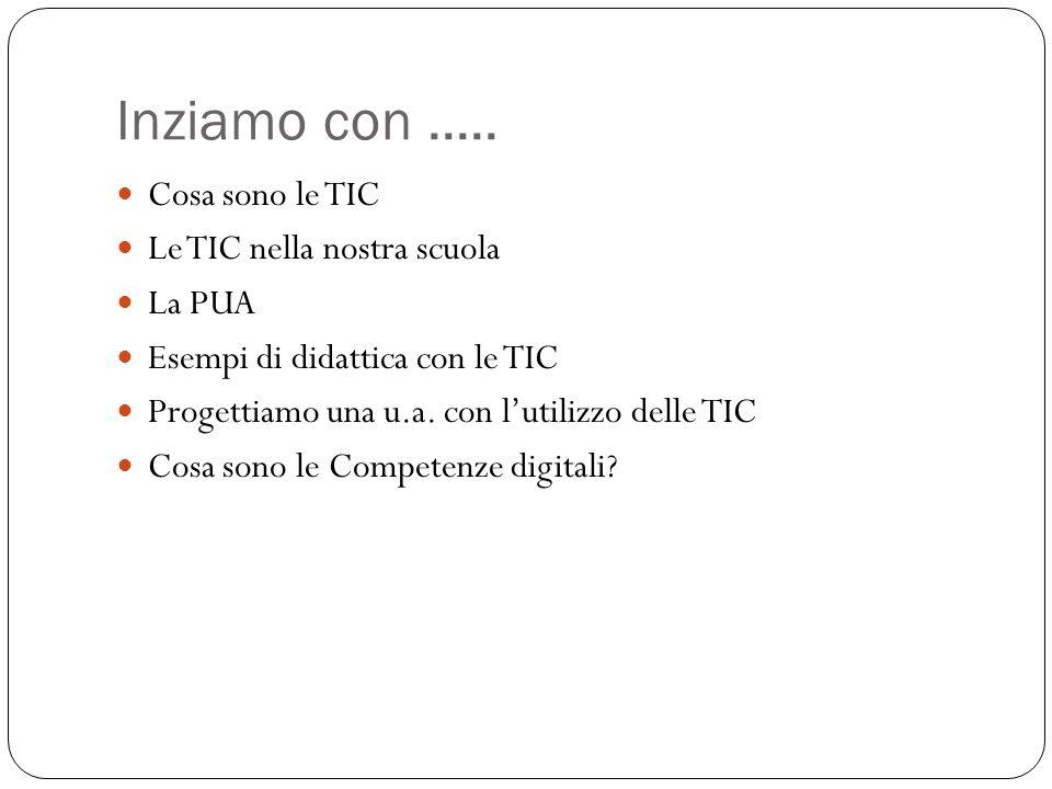 Inziamo con..... Cosa sono le TIC Le TIC nella nostra scuola La PUA Esempi di didattica con le TIC Progettiamo una u.a. con l'utilizzo delle TIC Cosa
