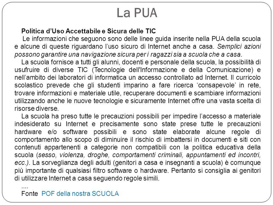 La PUA Politica d'Uso Accettabile e Sicura delle TIC Le informazioni che seguono sono delle linee guida inserite nella PUA della scuola e alcune di qu