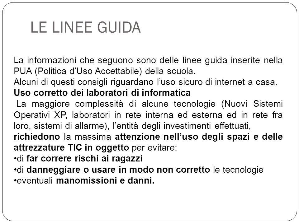 LE LINEE GUIDA La informazioni che seguono sono delle linee guida inserite nella PUA (Politica d'Uso Accettabile) della scuola. Alcuni di questi consi
