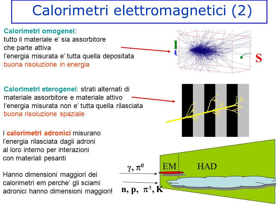 Calorimetri elettromagnetici (2) E e-e- S Calorimetri omogenei: tutto il materiale e' sia assorbitore che parte attiva l'energia misurata e' tutta que
