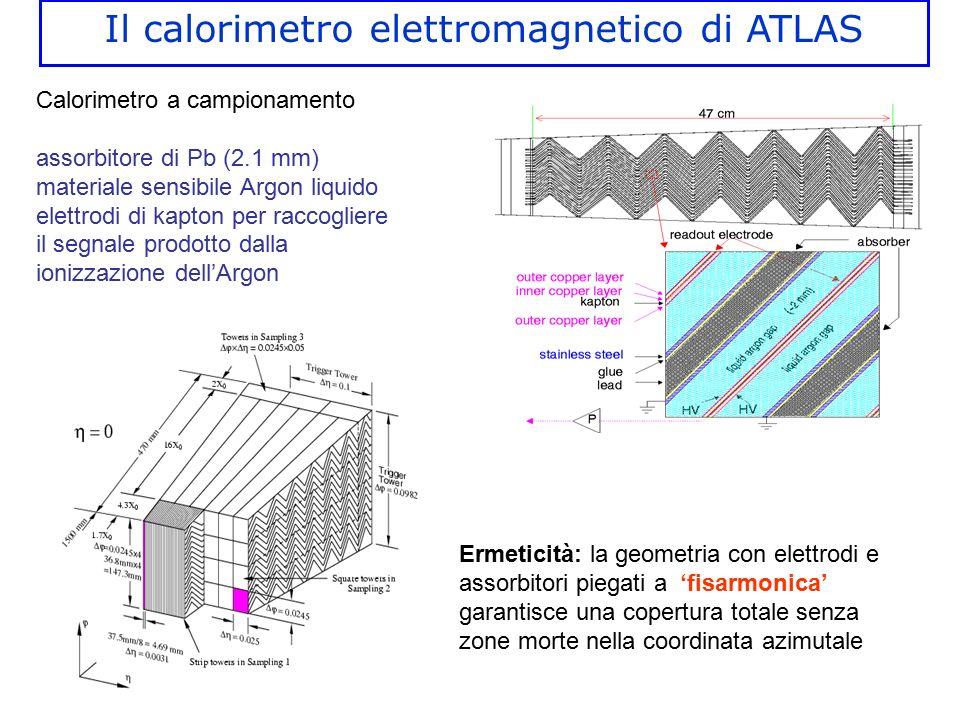 Calorimetro a campionamento assorbitore di Pb (2.1 mm) materiale sensibile Argon liquido elettrodi di kapton per raccogliere il segnale prodotto dalla