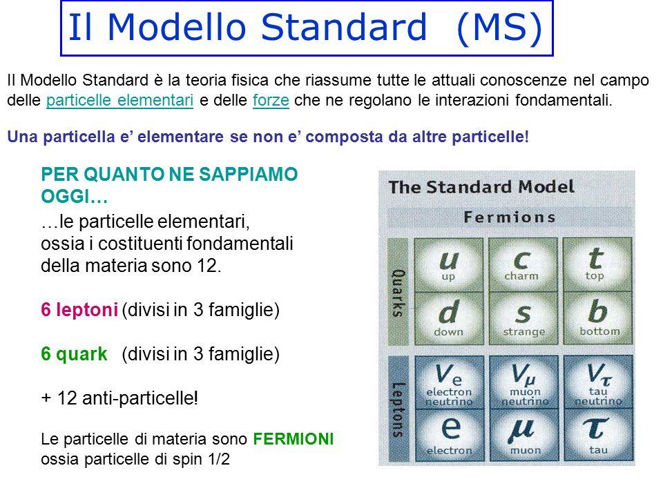Il Modello Standard (MS) Il Modello Standard è la teoria fisica che riassume tutte le attuali conoscenze nel campo delle particelle elementari e delle