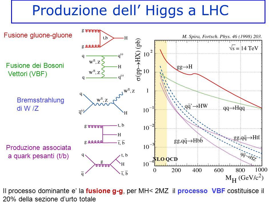 Fusione gluone-gluone Fusione dei Bosoni Vettori (VBF) Bremsstrahlung di W /Z Produzione associata a quark pesanti (t/b) NLO QCD Produzione dell' Higg