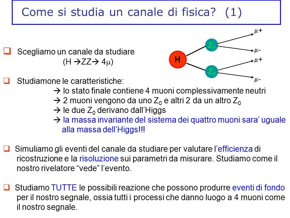 Come si studia un canale di fisica? (1)  Scegliamo un canale da studiare (H  ZZ  4  )  Studiamone le caratteristiche:  lo stato finale contiene