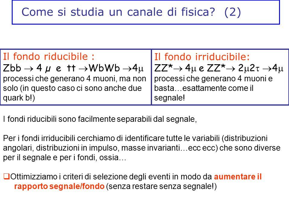 Come si studia un canale di fisica? (2) Il fondo riducibile : Zbb  4 µ e tt  WbWb  4  processi che generano 4 muoni, ma non solo (in questo caso c