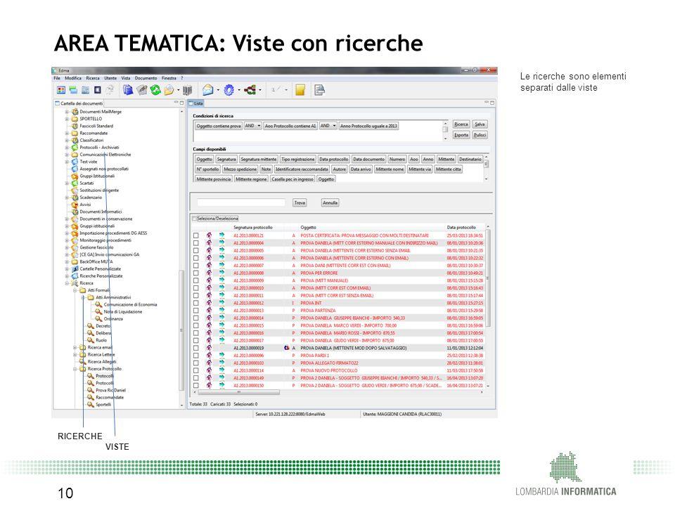 Le ricerche sono elementi separati dalle viste RICERCHE VISTE 10 AREA TEMATICA: Viste con ricerche