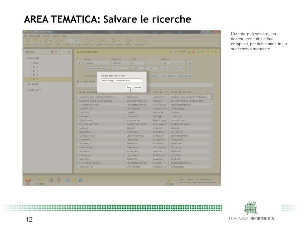 12 AREA TEMATICA: Salvare le ricerche L'utente può salvare una ricerca, con tutti i criteri compilati, per richiamarla in un successivo momento