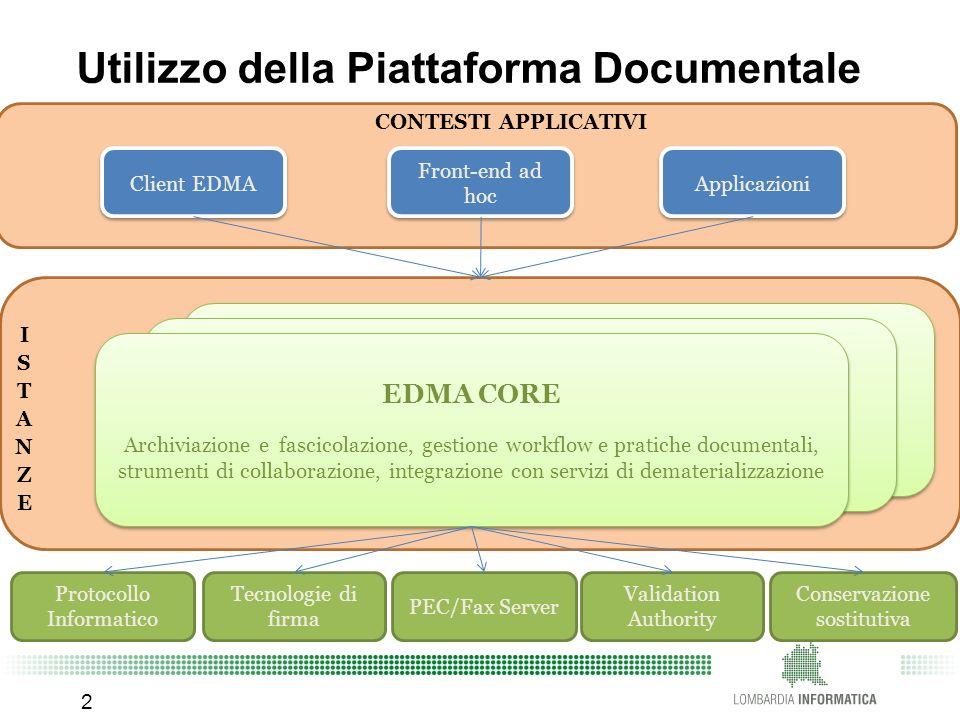 CONTESTI APPLICATIVI Utilizzo della Piattaforma Documentale 2 EDMA CORE Archiviazione e fascicolazione, gestione workflow e pratiche documentali, stru