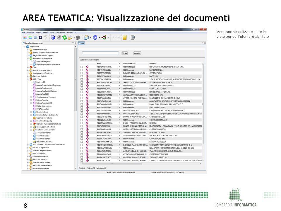Vengono visualizzate tutte le viste per cui l'utente è abilitato 8 AREA TEMATICA: Visualizzazione dei documenti