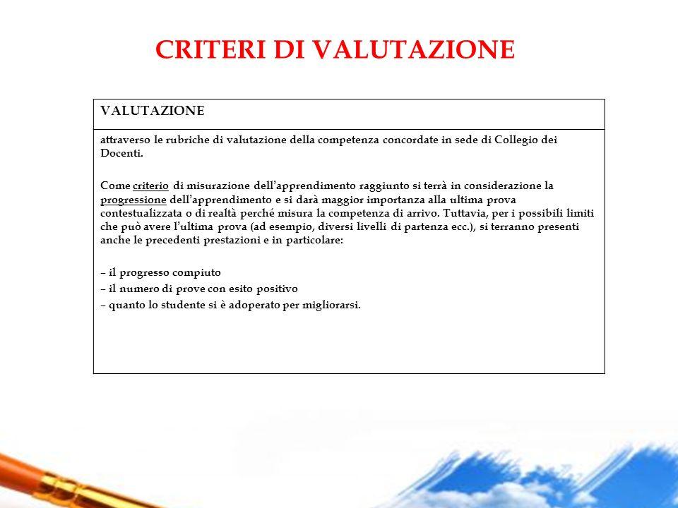 CRITERI DI VALUTAZIONE VALUTAZIONE attraverso le rubriche di valutazione della competenza concordate in sede di Collegio dei Docenti. Come criterio di