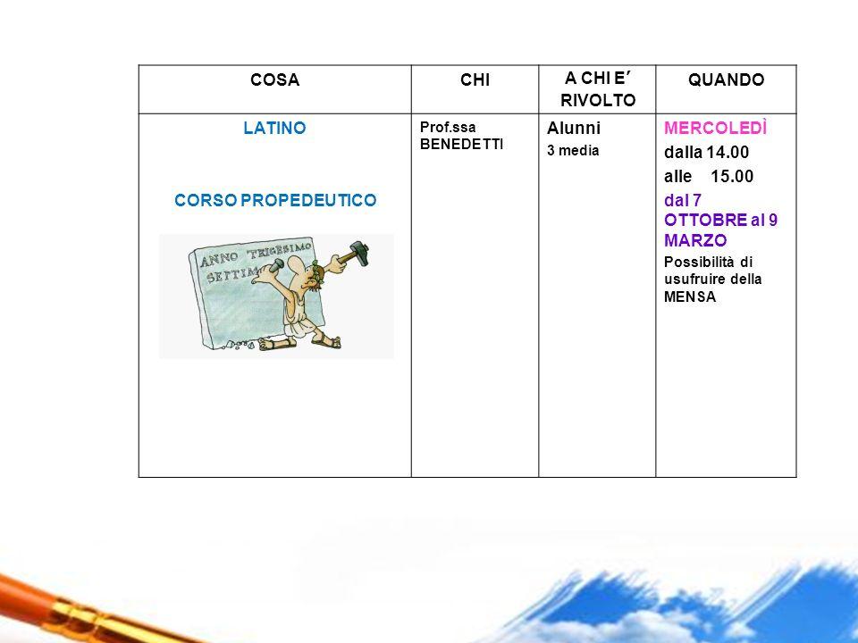 COSACHIA CHI E' RIVOLTO QUANDO LATINO CORSO PROPEDEUTICO Prof.ssa BENEDETTI Alunni 3 media MERCOLEDÌ dalla 14.00 alle 15.00 dal 7 OTTOBRE al 9 MARZO P