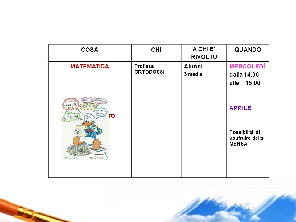 COSACHIA CHI E' RIVOLTO QUANDO MATEMATICA POTENZIAMENTO Prof.ssa ORTODOSSI Alunni 3 media MERCOLEDÌ dalla 14.00 alle 15.00 APRILE Possibilità di usufr