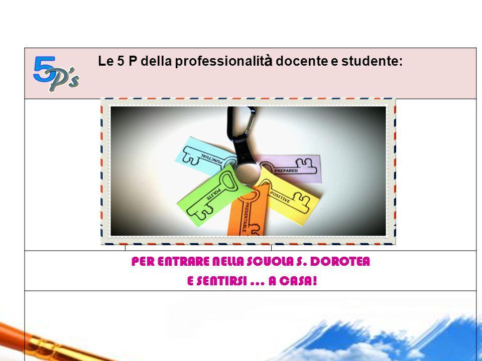 Le 5 P della professionalit à docente e studente: 1. PUNCTUAL 2. POLITE 3. PRESENTABLE 4. POSITIVE 5. PREPARED PER ENTRARE NELLA SCUOLA S. DOROTEA E S