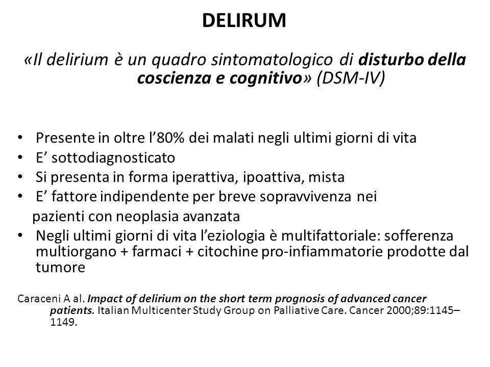 DELIRUM «Il delirium è un quadro sintomatologico di disturbo della coscienza e cognitivo» (DSM-IV) Presente in oltre l'80% dei malati negli ultimi gio