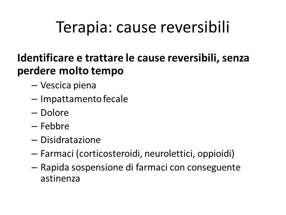 Terapia: cause reversibili Identificare e trattare le cause reversibili, senza perdere molto tempo – Vescica piena – Impattamento fecale – Dolore – Fe