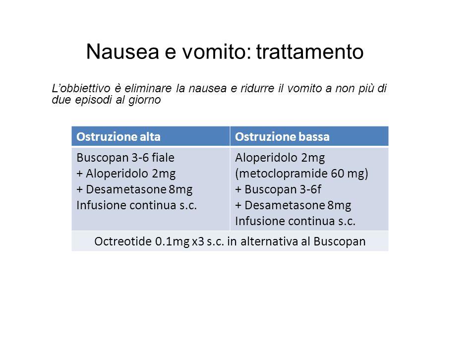 Nausea e vomito: trattamento L'obbiettivo è eliminare la nausea e ridurre il vomito a non più di due episodi al giorno Ostruzione altaOstruzione bassa