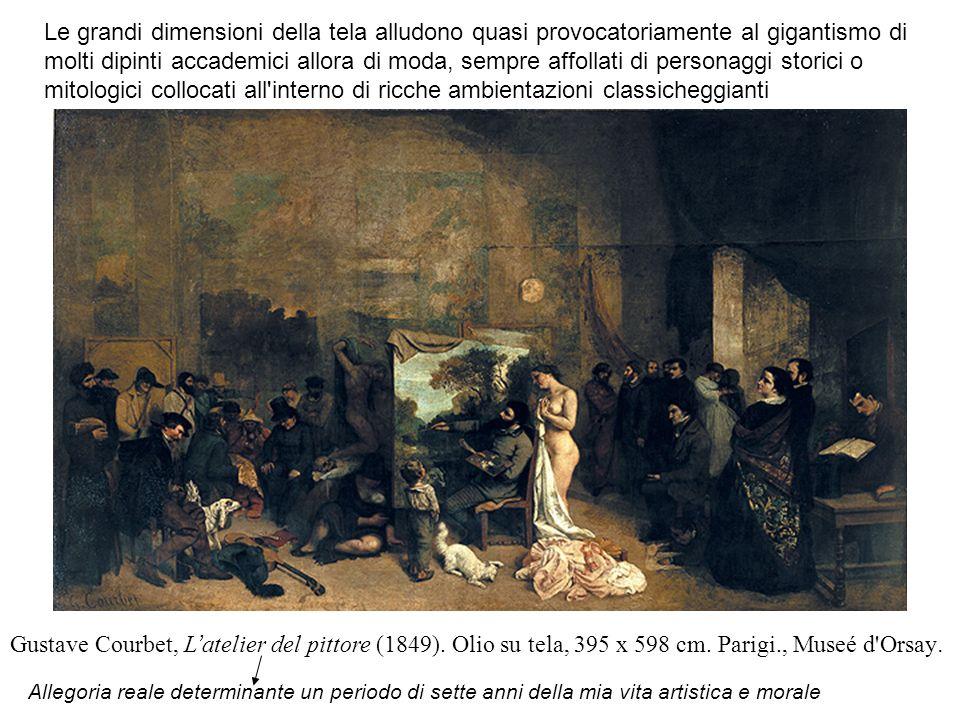 Gustave Courbet, L ' atelier del pittore (1849). Olio su tela, 395 x 598 cm. Parigi., Museé d'Orsay. Allegoria reale determinante un periodo di sette