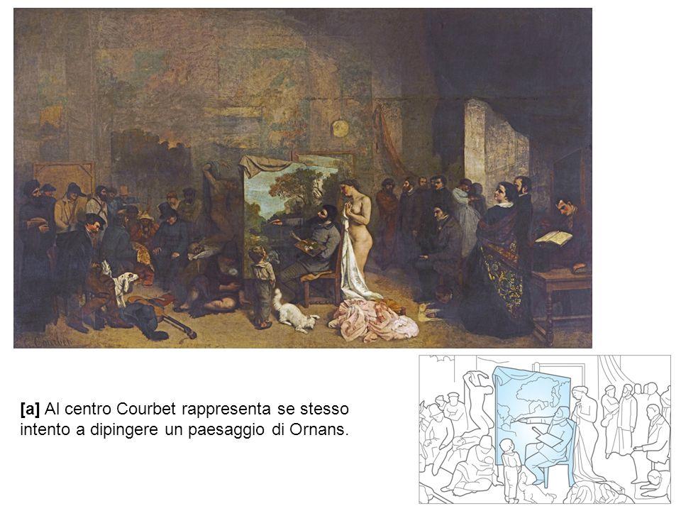[a] Al centro Courbet rappresenta se stesso intento a dipingere un paesaggio di Ornans.