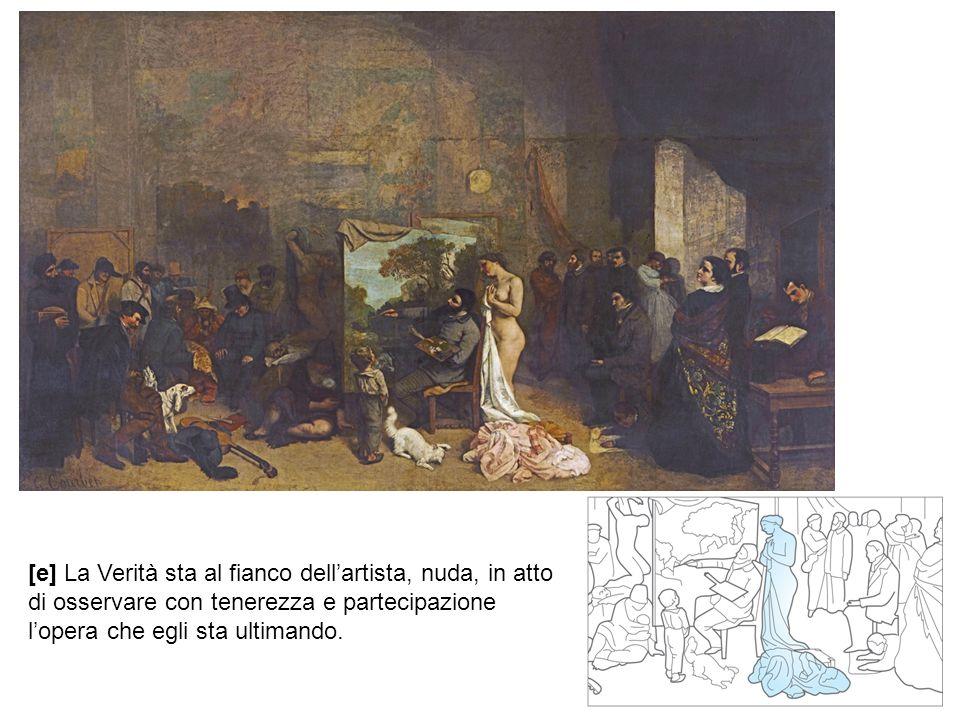 [e] La Verità sta al fianco dell'artista, nuda, in atto di osservare con tenerezza e partecipazione l'opera che egli sta ultimando.
