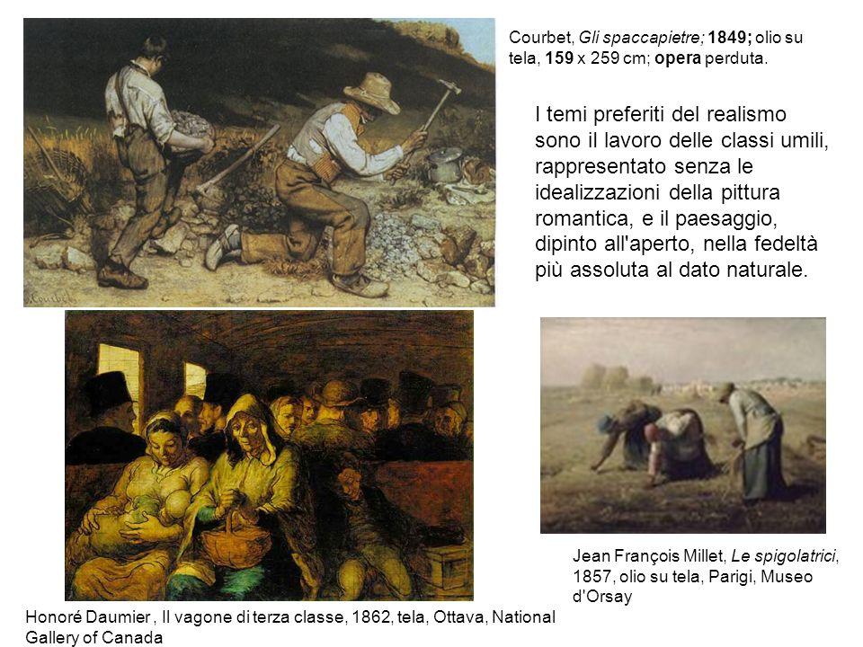 I temi preferiti del realismo sono iI lavoro delle classi umili, rappresentato senza le idealizzazioni della pittura romantica, e il paesaggio, dipint