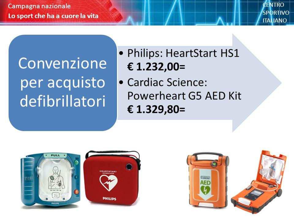 Philips: HeartStart HS1 € 1.232,00= Cardiac Science: Powerheart G5 AED Kit € 1.329,80= Convenzione per acquisto defibrillatori Lo sport che ha a cuore la vita Campagna nazionale Lo sport che ha a cuore la vita Campagna nazionale CENTRO SPORTIVO ITALIANO