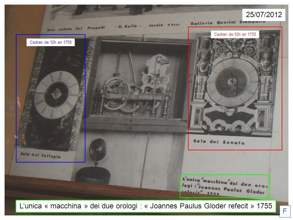 L'unica « macchina » dei due orologi : « Joannes Paulus Gloder refecit » 1755 F Cadran de 12h en 1755 25/07/2012
