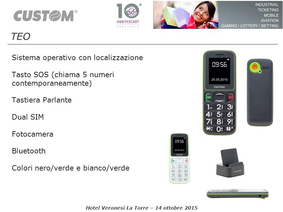 Sistema operativo con localizzazione Tasto SOS (chiama 5 numeri contemporaneamente) Tastiera Parlante Dual SIM Fotocamera Bluetooth Colori nero/verde