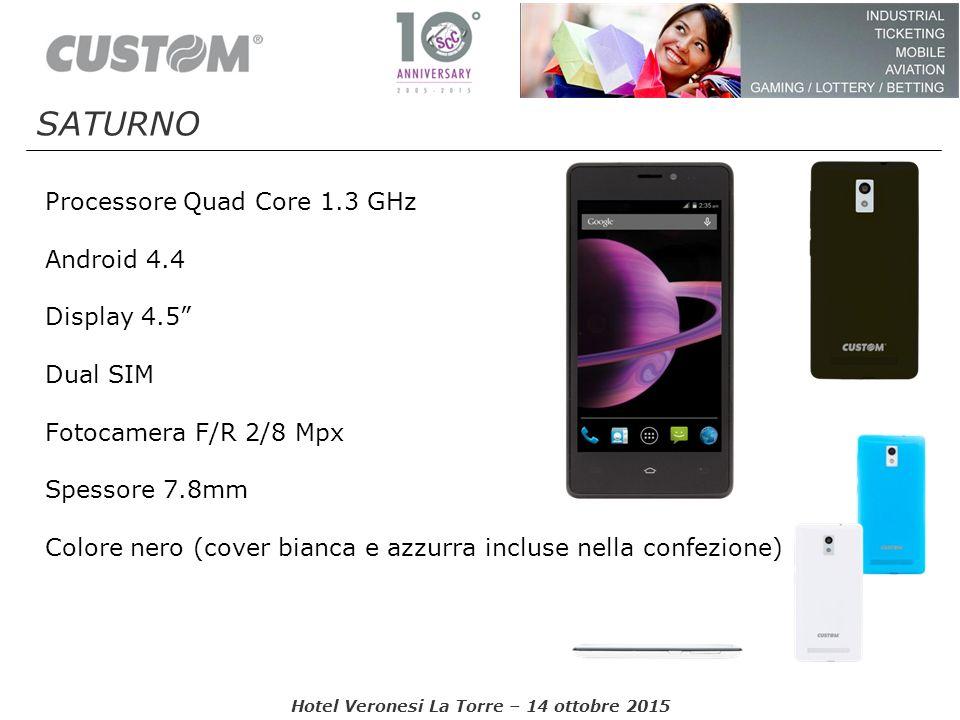 """Processore Quad Core 1.3 GHz Android 4.4 Display 4.5"""" Dual SIM Fotocamera F/R 2/8 Mpx Spessore 7.8mm Colore nero (cover bianca e azzurra incluse nella"""