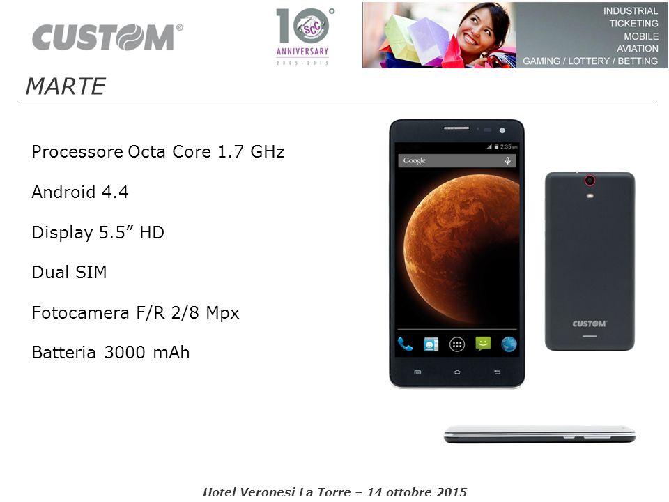 "Processore Octa Core 1.7 GHz Android 4.4 Display 5.5"" HD Dual SIM Fotocamera F/R 2/8 Mpx Batteria 3000 mAh Hotel Veronesi La Torre – 14 ottobre 2015 M"