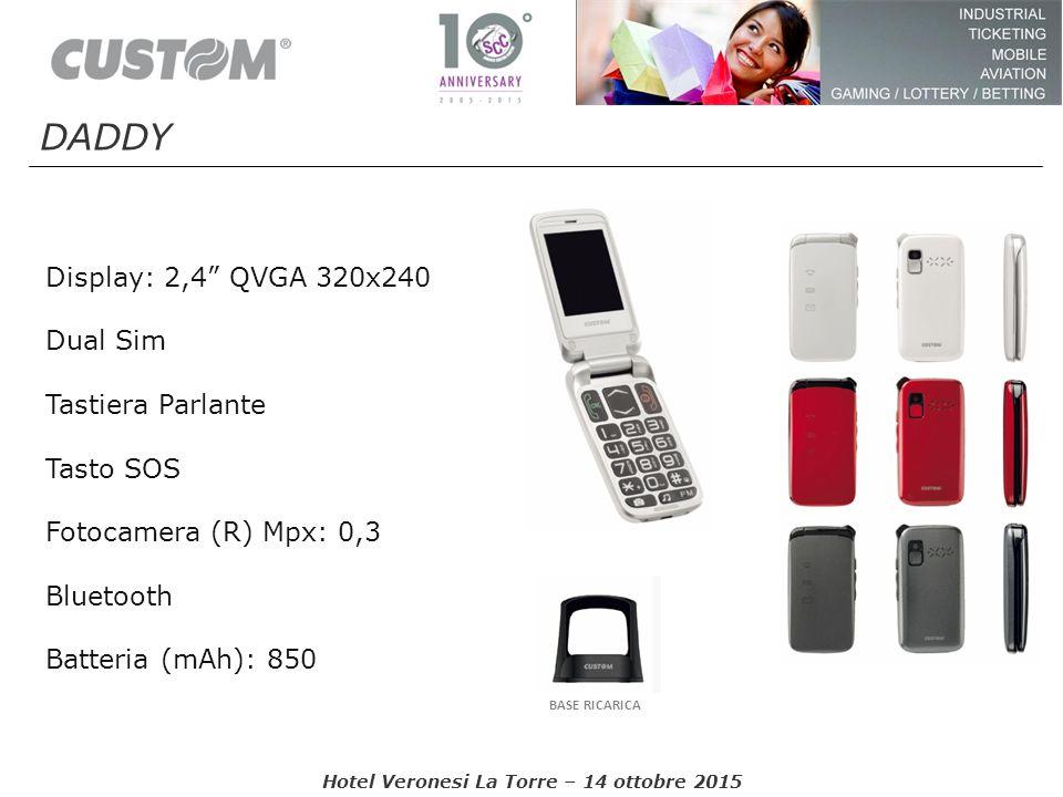"Display: 2,4"" QVGA 320x240 Dual Sim Tastiera Parlante Tasto SOS Fotocamera (R) Mpx: 0,3 Bluetooth Batteria (mAh): 850 BASE RICARICA Hotel Veronesi La"