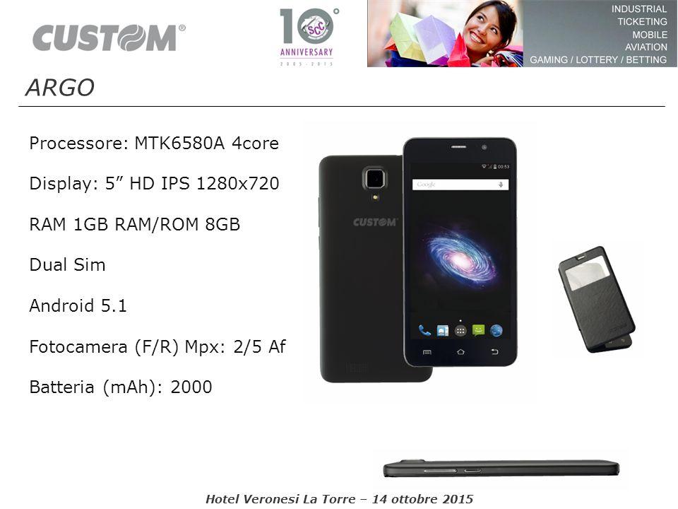 """Processore: MTK6580A 4core Display: 5"""" HD IPS 1280x720 RAM 1GB RAM/ROM 8GB Dual Sim Android 5.1 Fotocamera (F/R) Mpx: 2/5 Af Batteria (mAh): 2000 ARGO"""