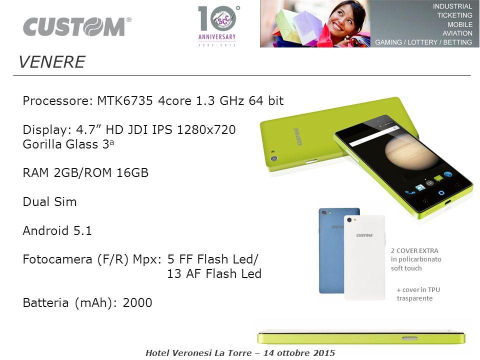 """Processore: MTK6735 4core 1.3 GHz 64 bit Display: 4.7"""" HD JDI IPS 1280x720 Gorilla Glass 3 a RAM 2GB/ROM 16GB Dual Sim Android 5.1 Fotocamera (F/R) Mp"""
