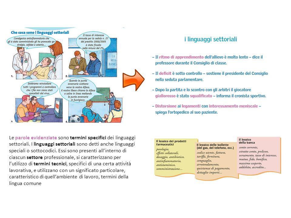 Le parole evidenziate sono termini specifici dei linguaggi settoriali.