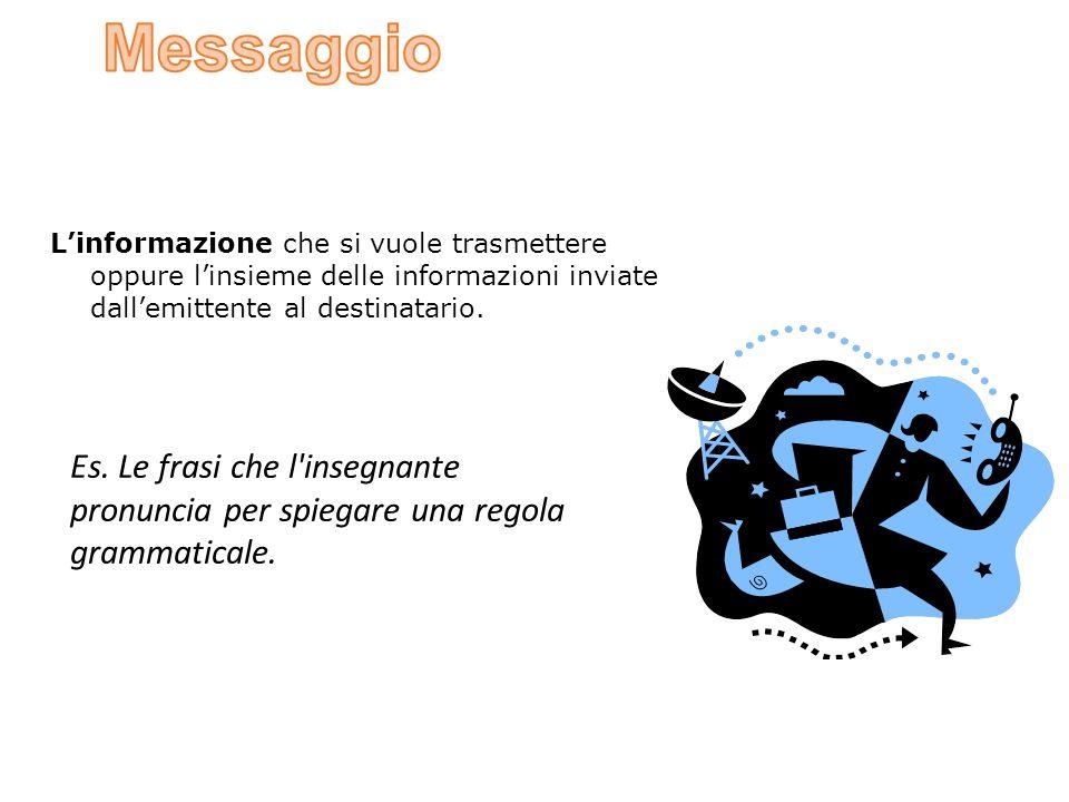 L'informazione che si vuole trasmettere oppure l'insieme delle informazioni inviate dall'emittente al destinatario.