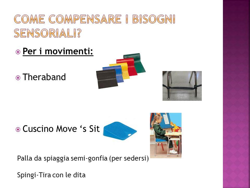  Per i movimenti:  Theraband  Cuscino Move 's Sit Palla da spiaggia semi-gonfia (per sedersi) Spingi-Tira con le dita
