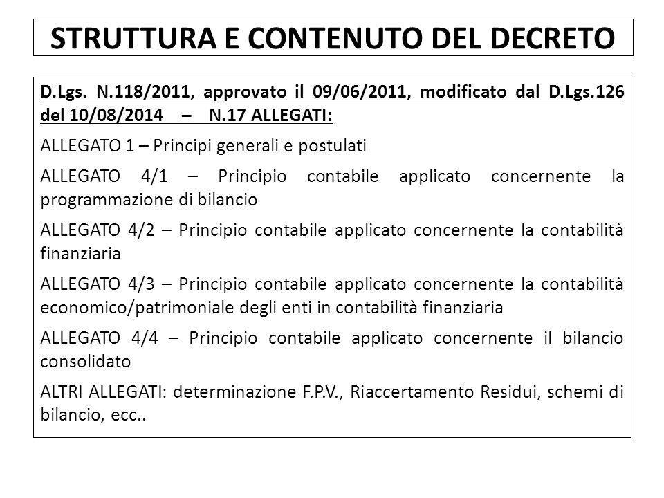 D.Lgs. N.118/2011, approvato il 09/06/2011, modificato dal D.Lgs.126 del 10/08/2014 – N.17 ALLEGATI: ALLEGATO 1 – Principi generali e postulati ALLEGA