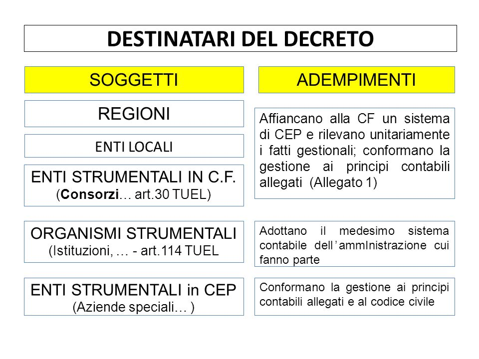 ENTI LOCALI DESTINATARI DEL DECRETO ORGANISMI STRUMENTALI (Istituzioni, … - art.114 TUEL ENTI STRUMENTALI in CEP (Aziende speciali… ) SOGGETTI ENTI STRUMENTALI IN C.F.