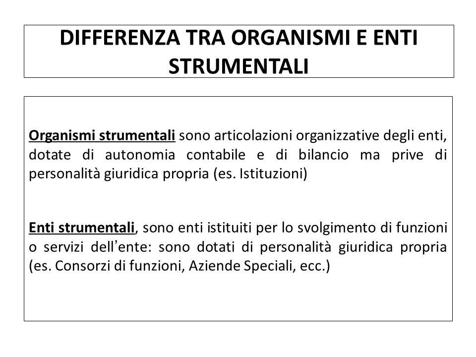 Organismi strumentali sono articolazioni organizzative degli enti, dotate di autonomia contabile e di bilancio ma prive di personalità giuridica propria (es.