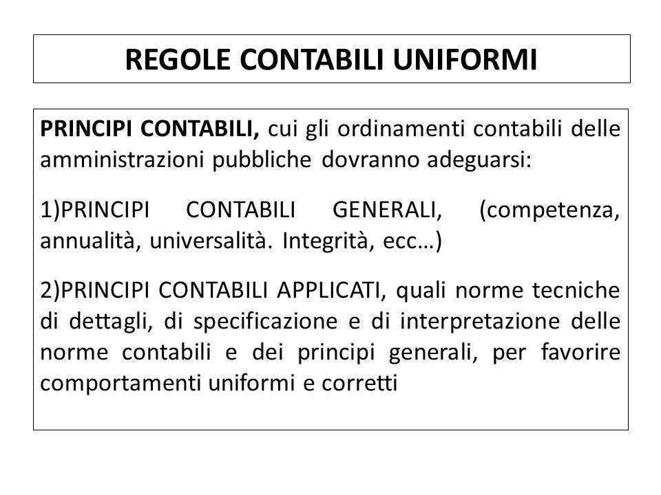 PRINCIPI CONTABILI, cui gli ordinamenti contabili delle amministrazioni pubbliche dovranno adeguarsi: 1)PRINCIPI CONTABILI GENERALI, (competenza, annualità, universalità.