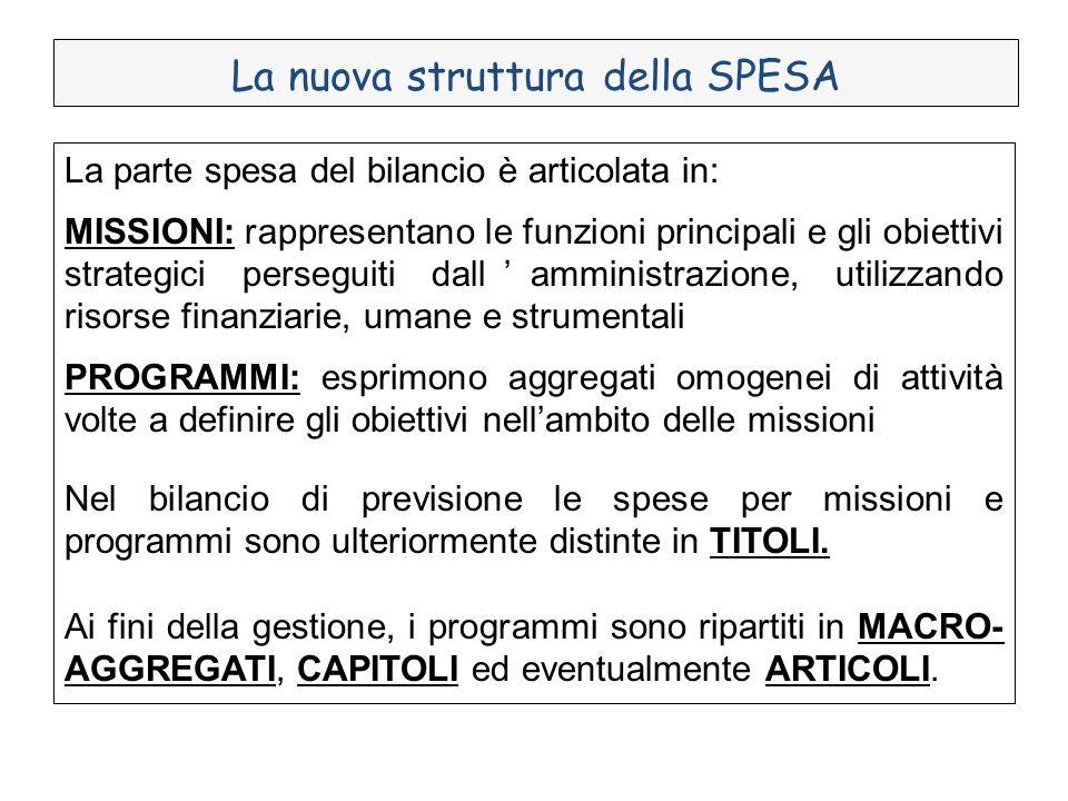 La nuova struttura della SPESA La parte spesa del bilancio è articolata in: MISSIONI: rappresentano le funzioni principali e gli obiettivi strategici
