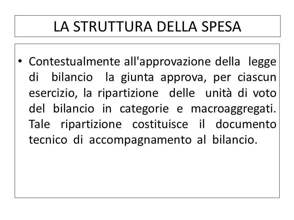 Contestualmente all approvazione della legge di bilancio la giunta approva, per ciascun esercizio, la ripartizione delle unità di voto del bilancio in categorie e macroaggregati.