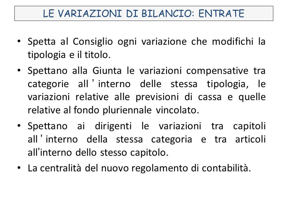 LE VARIAZIONI DI BILANCIO: ENTRATE Spetta al Consiglio ogni variazione che modifichi la tipologia e il titolo.