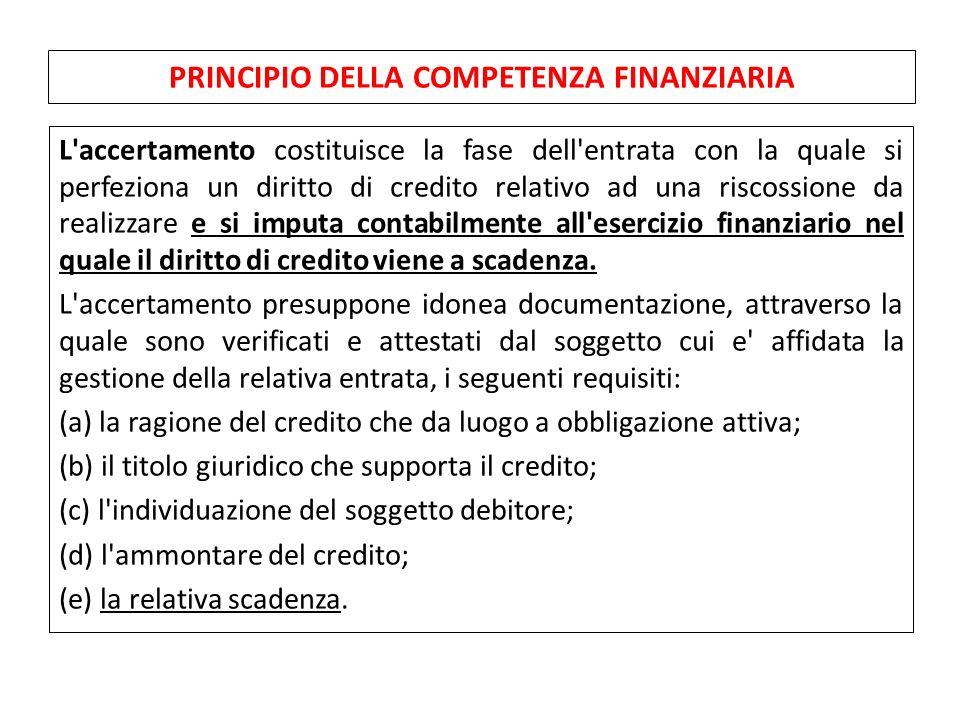 L'accertamento costituisce la fase dell'entrata con la quale si perfeziona un diritto di credito relativo ad una riscossione da realizzare e si imputa