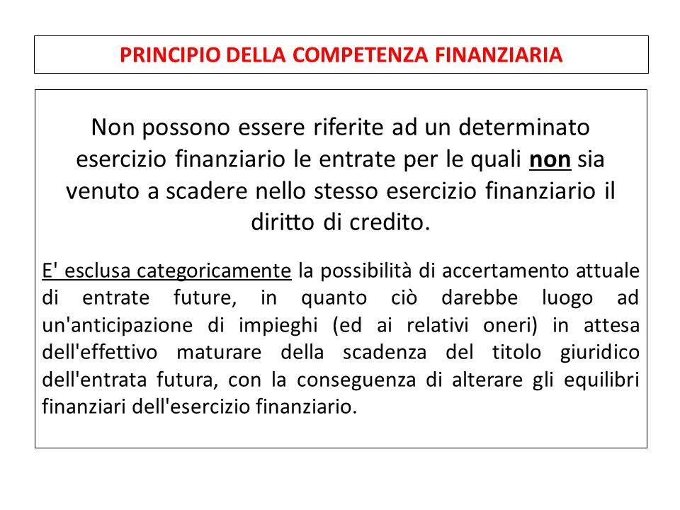 Non possono essere riferite ad un determinato esercizio finanziario le entrate per le quali non sia venuto a scadere nello stesso esercizio finanziario il diritto di credito.