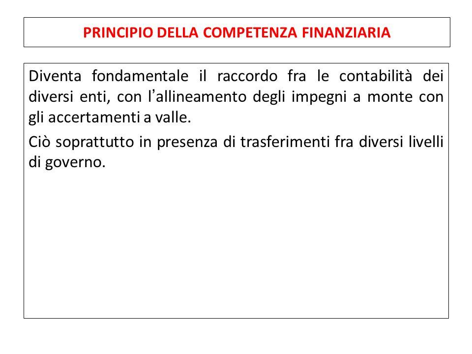 Diventa fondamentale il raccordo fra le contabilità dei diversi enti, con l'allineamento degli impegni a monte con gli accertamenti a valle.