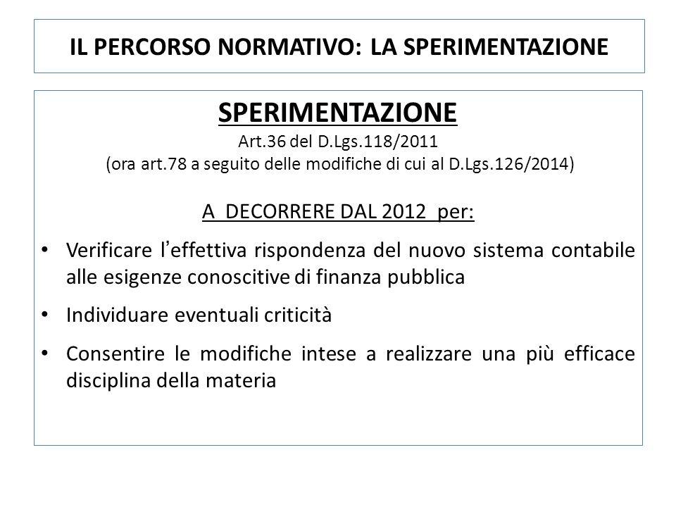 SPERIMENTAZIONE Art.36 del D.Lgs.118/2011 (ora art.78 a seguito delle modifiche di cui al D.Lgs.126/2014) A DECORRERE DAL 2012 per: Verificare l'effettiva rispondenza del nuovo sistema contabile alle esigenze conoscitive di finanza pubblica Individuare eventuali criticità Consentire le modifiche intese a realizzare una più efficace disciplina della materia IL PERCORSO NORMATIVO: LA SPERIMENTAZIONE