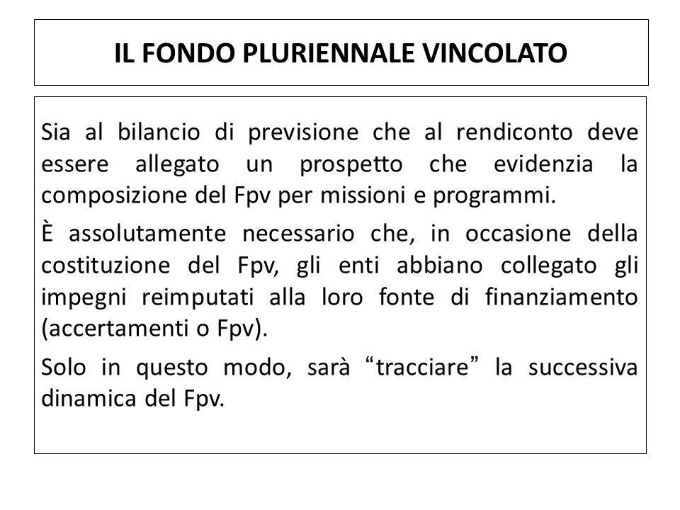 Sia al bilancio di previsione che al rendiconto deve essere allegato un prospetto che evidenzia la composizione del Fpv per missioni e programmi.
