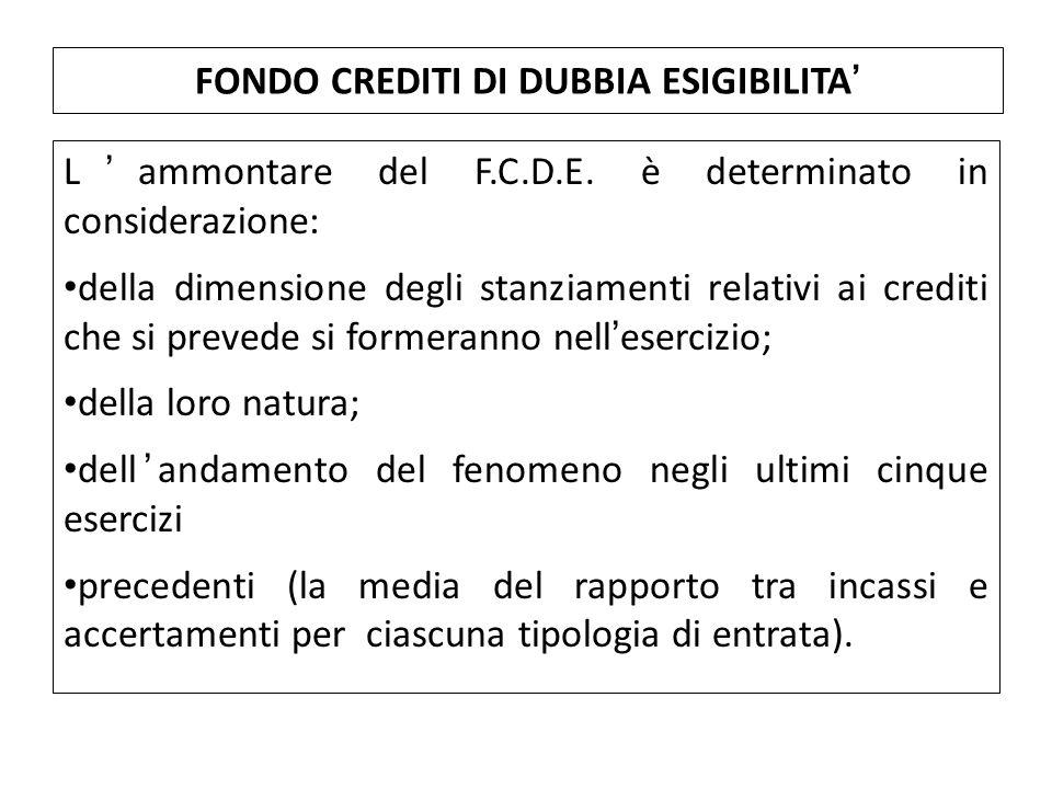 L'ammontare del F.C.D.E. è determinato in considerazione: della dimensione degli stanziamenti relativi ai crediti che si prevede si formeranno nell'es